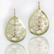 Gold Pebble Cutouts and Pearl Clusters by Wendy Stauffer (Gold, Silver & Stone Earrings)