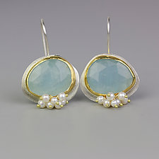 Faceted Aquamarine Dangles with Pearl Clusters by Wendy Stauffer (Gold, Silver & Stone Earrings)