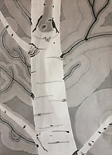 Black and White Aspen I by Meredith Nemirov (Watercolor & Ink Drawing)