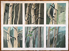 Six Views of Aspens by Meredith Nemirov (Oil Painting)
