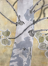 Leafy Shadows by Meredith Nemirov (Mixed-Media Painting)