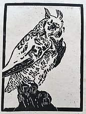 Great Horned Owl - Artist's Proof by Meredith Nemirov (Woodcut Print)