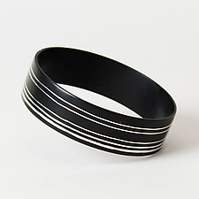 Stripe Off Center Wide Bangle by Priya Himatsingka (Jewelry Bracelets)