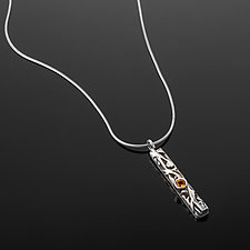 Tangle Gemstone Bar Pendant by Janet Blake (Silver & Stone Necklace)