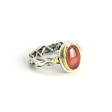 Rhodochrosite Halo Ring by Janet Blake (Gold, Silver & Stone Ring)