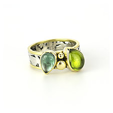 Tourmaline and Peridot Transcend Ring by Janet Blake (Gold, Silver & Stone Ring)