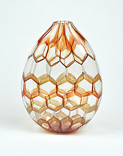 Kiln Brick and Opal White Hive Vase by Andrew Stenerson (Art Glass Vase)