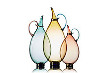 Flat Pitcher Trio by Vetro Vero (Art Glass Pitchers)