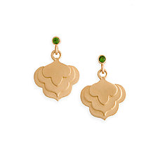 Cloud Earrings with Imperial Diopside by Karin Jacobson (Gold & Stone Earrings)