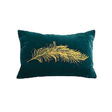 Gilded Luxe Feather Pillow by Helene  Ige (Velvet Pillow)