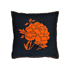 Denim Flocked Peony Pillow by Helene  Ige (Denim Pillow)