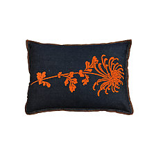 Small Denim Flocked Mum Pillow by Helene  Ige (Denim Pillow)