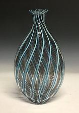 Aqua Vertigo Cane Vase by John Gibbons (Art Glass Vase)