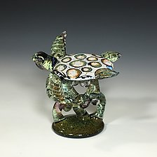 White Barnacle Turtle on Green Coral by John Gibbons (Art Glass Sculpture)
