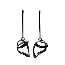Scoop Drop Earring by Laura  Wood  (Silver & Brass Earrings)