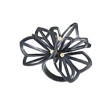 Double Hyacinth Fold Ring with Diamonds by Karin Jacobson (Gold, Silver & Stone Ring)