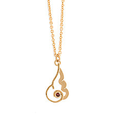 Flame Necklace with Anthill Garnet by Karin Jacobson (Gold & Stone Necklace)