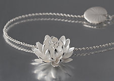 Silver Waterlily Pendant by Elise Moran (Silver Necklace)