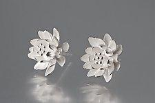 Silver Waterlily Earrings by Elise Moran (Silver Earrings)