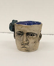 Cup with Face and Bird by Ashley Benton (Ceramic Cup)