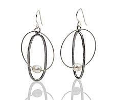 Pearl Earrings by Boo Poulin (Silver, Steel & Pearl Earrings)
