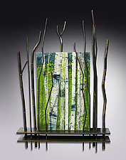A Moment in Spring by Leslie W. Friedman (Art Glass & Metal Wall Sculpture)