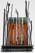 First Fall by Leslie W. Friedman (Art Glass & Metal Wall Sculpture)