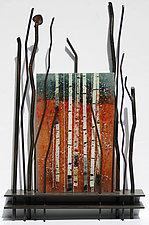 First Fall by Leslie W. Friedman (Art Glass & Metal Wall Sculpture)
