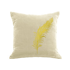 Gilded Luxe Feather Pillow by Helene  Ige (Velvet Pillow)