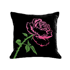 Gilded Luxe Metallic Rose Pillow by Helene  Ige (Velvet Pillow)