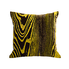 Gilded Luxe Metallic Woodgrain Pillow by Helene  Ige (Velvet Pillow)