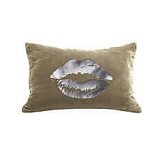 Gilded Luxe Lips Pillow by Helene  Ige (Velvet Pillow)