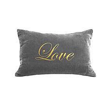 Gilded Luxe Love Script Pillow by Helene  Ige (Velvet Pillow)