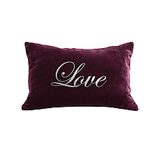 Gilded Luxe Love Script Pillow by Helene  Ige (Velvet Pillow)