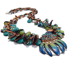 Jungle Treasure by Kathryn Bowman (Silver, Copper & Enamel Necklace)