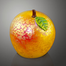 Gold Iridescent Venetian Apple by Bruce  Sillars (Art Glass Sculpture)