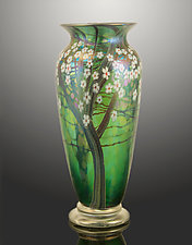 Teal Iridescent Hawthorn Vase by Orient & Flume Art Glass (Art Glass Vase)