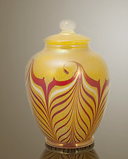 Hooked Feather Jar by Orient & Flume Art Glass (Art Glass Vessel)