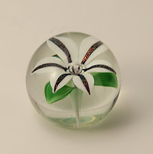 White Lily by Orient & Flume Art Glass (Art Glass Paperweight)