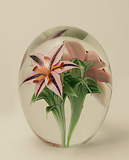 Lilies Magnum by Orient & Flume Art Glass (Art Glass Paperweight)