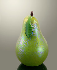 Green Venetian Pear by Orient & Flume Art Glass (Art Glass Paperweight)