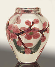Pink Dogwood Vase by Orient & Flume Art Glass (Art Glass Vase)