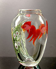 Red Beta Fish by Orient & Flume Art Glass (Art Glass Vase)