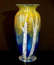 Autumn Aspen Blue by Orient & Flume Art Glass (Art Glass Vase)