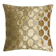 Metallic Gold Mod Fretwork Pillow by Kevin O'Brien (Velvet Pillow)