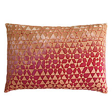 Triangles Velvet Lumbar Pillow by Kevin O'Brien (Velvet Pillow)