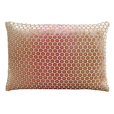 Pink Beige Dots Velvet Pillow - Rectangular by Kevin O'Brien (Velvet Pillow)