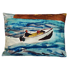 Watercolor East-Bound Speedboat Pillow by Kevin O'Brien (Cotton Pillow)
