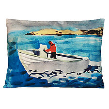 Watercolor West-Bound Speedboat Pillow by Kevin O'Brien (Cotton Pillow)