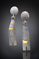 Wrapped Talisman Earrings by Patricia McCleery (Gold & Silver Earrings)